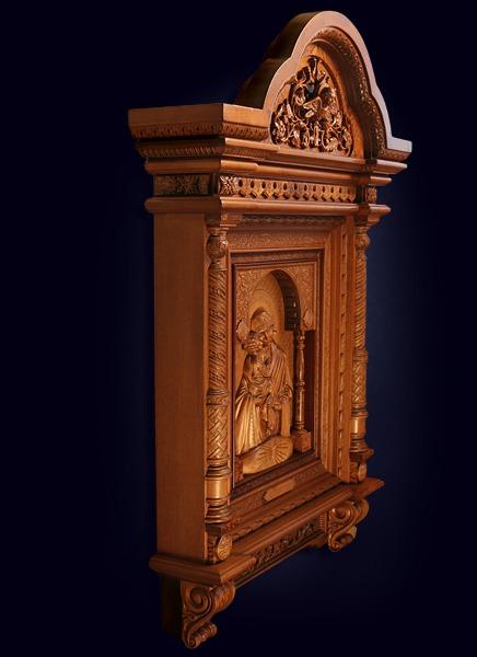 Резная икона Почаевской Божьей Матери из ценных пород дерева
