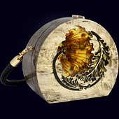 """Женская сумочка """"Цветок"""" из экзотических пород древесины с инкрустацией янтарём"""