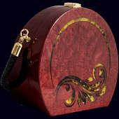 Женская сумочка Красная из экзотических пород древесины с инкрустацией янтарём