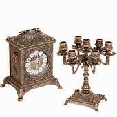 Часы каминные Ларец и 2 канделябра на 7 свечей, 3 предм.