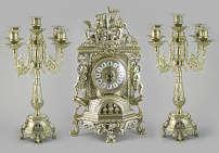 Часы каминные Ладья и 2 канделябра на 5 свечей, 3 предм.