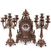 Часы каминные Барокко и 2 канделябра на 5 свечей, 3 предм.
