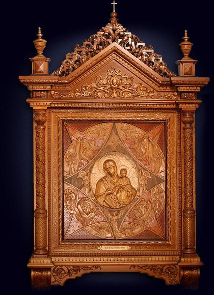 Резная икона Божьей Матери «Неопалимая Купина»