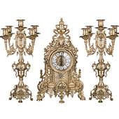 Часы каминные Барокко с канделябрами на 5 свечей, 3 предм.