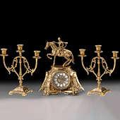 Часы настольные Всадник с канделябрами на 3 свечи, набор из 3 предм.