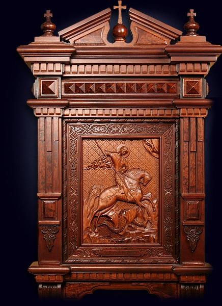 Резная икона Святого Георгия Победоносца
