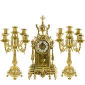 Часы каминные с маятником и 2 канделябра на 5 свечей, 3 предм.