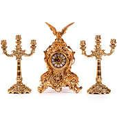Часы каминные Д.Жуан с орлом с канделябрами на 3 свечи, набор из 3 предм.