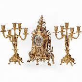 Часы каминные Барокко с канделябрами на 5 свечей, набор из 3 предм.
