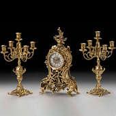 Часы каминные Венский лес с канделябрами на 5 свечей, набор из 3 предм.