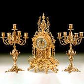 Часы каминные с канделябрами на 5 свечей, набор из 3 предм.