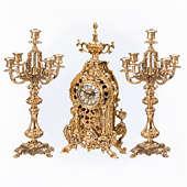 Часы каминные Дракон с канделябрами на 5 свечей, набор из 3 предм.