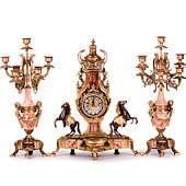 Часы каминные антикварные Ампир и 2 канделябра на 7 рожков, 3пр.