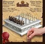 Шахматы светлые бокс 3 в 1 из массива ясеня с инкрустацией