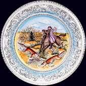 Блюдо настенное «Псовая охота» с авторской надглазурной росписью