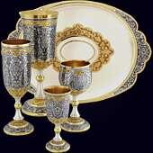 Подарочный набор из серебра «Царский пир» с ручной гравировкой и чернением