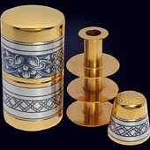 Набор рукодельный из серебра с чернением и позолотой