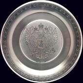 Поднос с гербом России из серебра с чернением