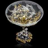 Ваза «Гуси-Лебеди» из серебра и гравированного вручную хрусталя