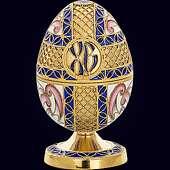 Шкатулка-яйцо из серебра с эмалево-филигранным декором