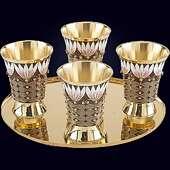 Набор стопок  из серебра с золочением с эмалево-филигранным декором