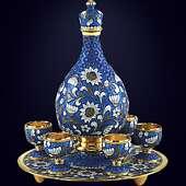 Набор ликерный  из серебра с эмалево-филигранным декором