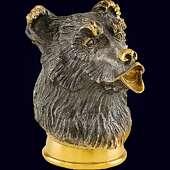 Стопка-перевертыш «Медведь» из серебра 925 пробы с позолотой