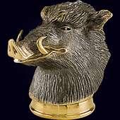 Стопка-перевертыш «Кабан» из серебра 925 пробы с золочением