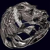 Золотое кольцо «Дракон» с 5-тью бриллиантами
