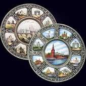 Панно-тарелка «Москва» из серебра с финифтью и витражной эмалью