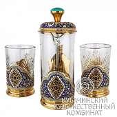 Чайный набор из серебра с золочением и эмалево-филигранным декором