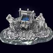 Скульптурная композиция «У колодца» из серебра 925 пробы