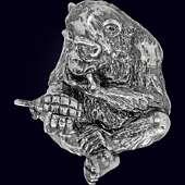 Сувенир «Обезьяна с гранатой» из серебра 925 пробы