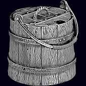 Икорница «Ведерко» из серебра 925 пробы и хрусталя