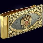 Зажим для денег из серебра с гербом РФ