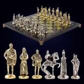Шахматы «Русь» из бронзы и змеевика