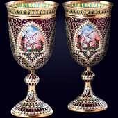 Свадебные бокалы из серебряной сканой проволоки с живописью на перламутре