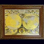 Карта мира из латуни с золочением, никелированием и травлением в багете