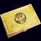 Карманная визитница «Герб» с золочением, никелированием и чернением