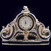 Часы «Каминные» из фарфора с позолотой и надглазурной росписью