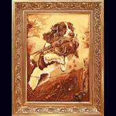 Картина из янтарной крошки. Охота.