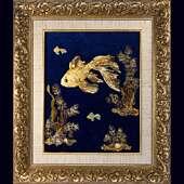 Картина из янтаря. Золотая рыбка.
