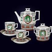 Чайный сервиз «Античный» на 6 персон из фарфора с ручной рописью и позолотой