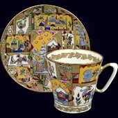 Чайная пара «Сказка» из костяного фарфора с ручной росписью и позолотой