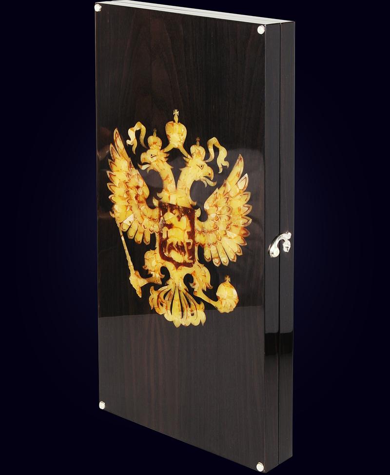 Нарды из мореного дуба «Российский герб»