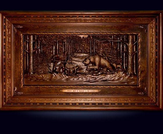 Резная объемная картина «Охота на медведя»