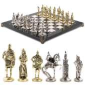 Шахматы «Русь» доска 40х40 см из мрамора