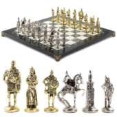 Шахматы «Русь» доска 40х40 см из офиокальцита