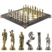 Шахматы настольные «Греко-Римская война» 32х32 см камень змеевик мрамор