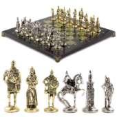 Шахматы подарочные «Русь» доска 40х40 см из змеевика